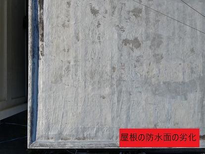 屋根の防水面の劣化